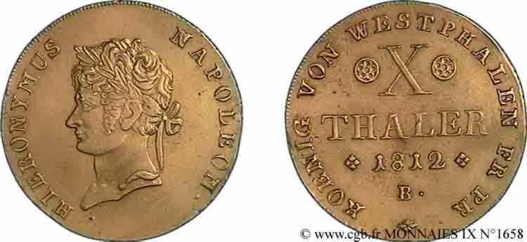 N° v09_1658 10 thaler en or, tête laurée - 1812