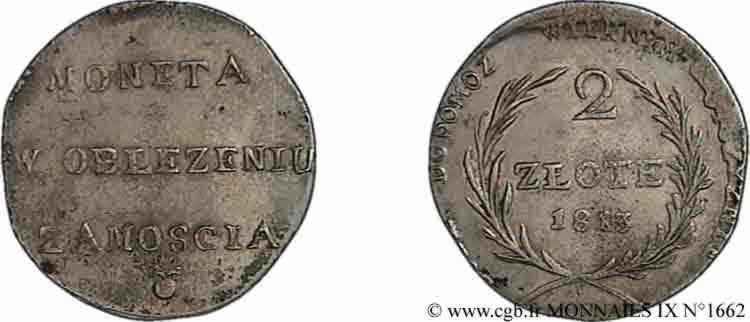 N° v09_1662 2 zlote 1er type, monnaie obsidionale - 1813