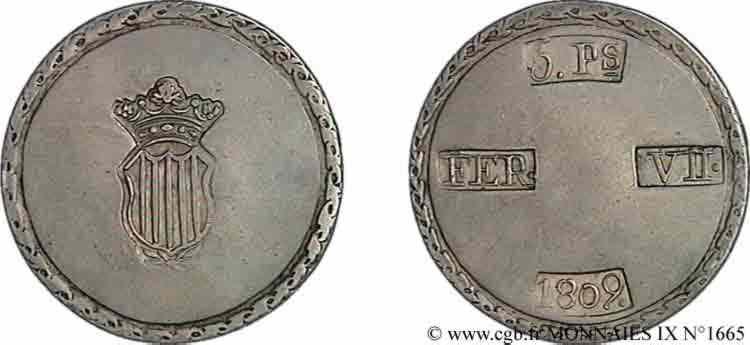 N° v09_1665 5 pesetas, monnaie obsidionale - 1809