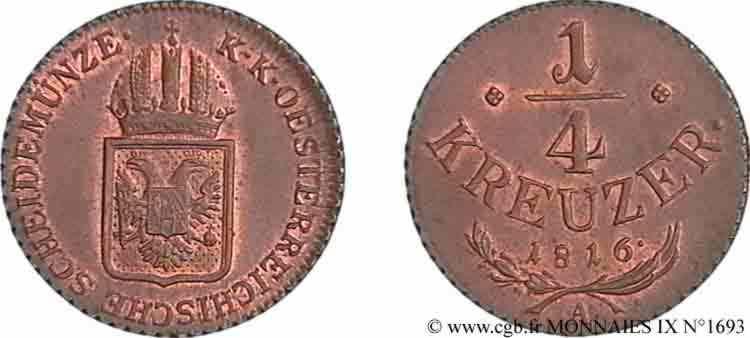 N° v09_1693 Quart de kreutzer - 1816
