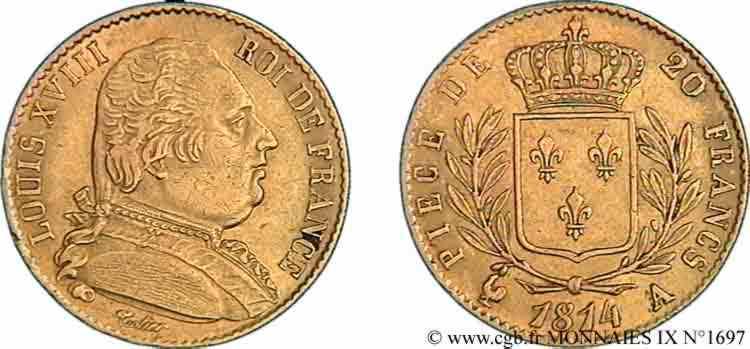 N° v09_1697 20 francs or Louis XVIII, buste habillé - 1814