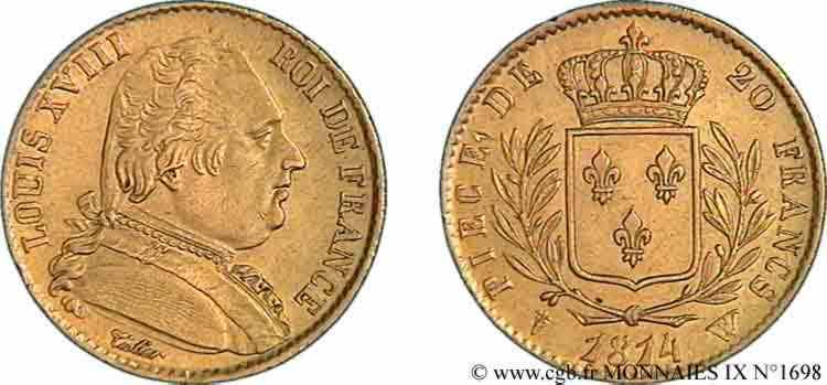 N° v09_1698 20 francs or Louis XVIII, buste habillé - 1814