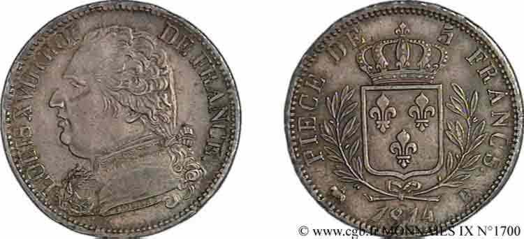 N° v09_1700 5 francs Louis XVIII, buste habillé - 1814