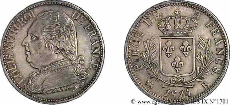 N° v09_1701 5 francs Louis XVIII, buste habillé - 1814