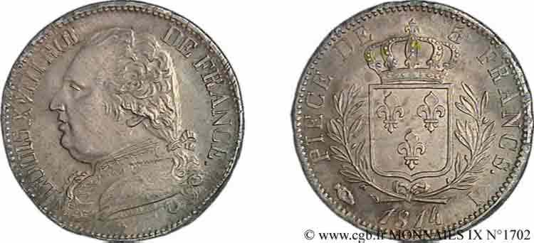N° v09_1702 5 francs Louis XVIII, buste habillé - 1814
