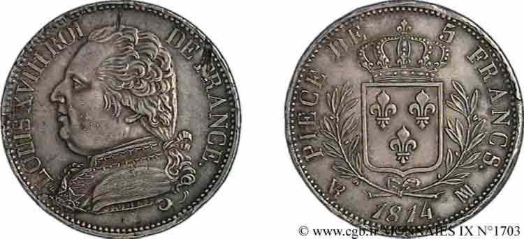 N° v09_1703 5 francs Louis XVIII, buste habillé - 1814