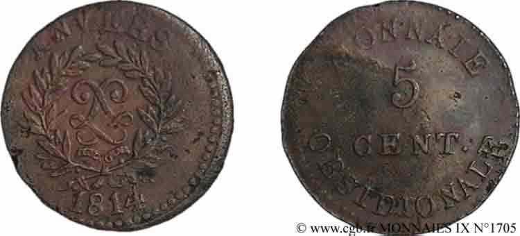 N° v09_1705 5 centimes siège d'Anvers - 1814