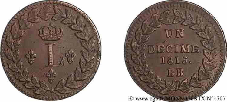 N° v09_1707 Décime au L - 1815