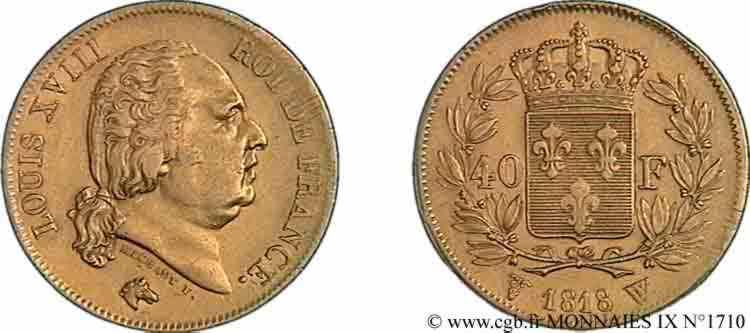 N° v09_1710 40 francs or Louis XVIII - 1818