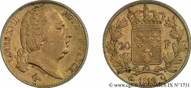 N° v09_1711 20 francs or Louis XVIII, tête nue - 1816