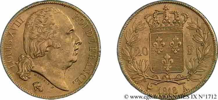 N° v09_1712 20 francs or Louis XVIII, tête nue - 1818