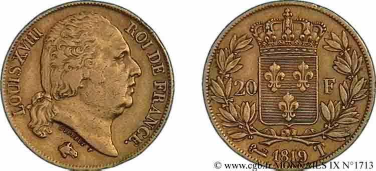 N° v09_1713 20 francs or Louis XVIII, tête nue - 1819