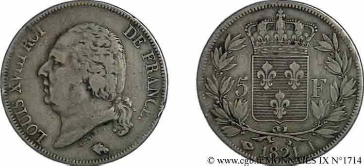 N° v09_1714 5 francs Louis XVIII, tête nue - 1821