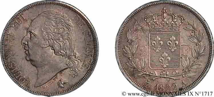 N° v09_1717 2 francs Louis XVIII - 1822