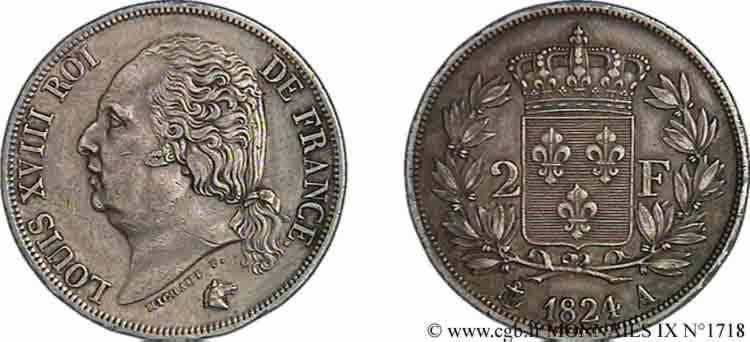 N° v09_1718 2 francs Louis XVIII - 1824