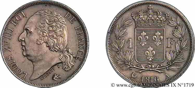 N° v09_1719 1 franc Louis XVIII - 1816