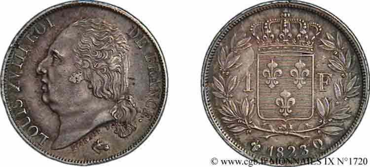 N° v09_1720 1 franc Louis XVIII - 1816