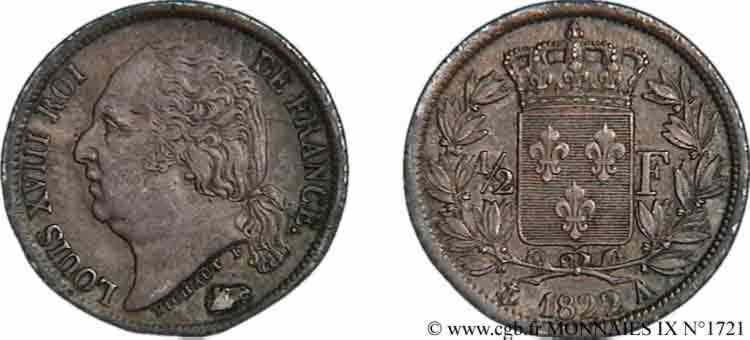 N° v09_1721 Demi-franc Louis XVIII - 1822