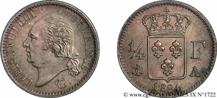 N° v09_1722 Quart de franc Louis XVIII - 1824