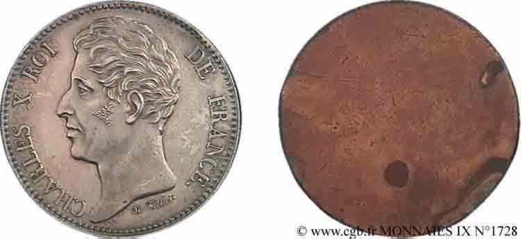 N° v09_1728 Essai uniface d'avers de 5 francs de Tiolier en bronze argenté - sd.