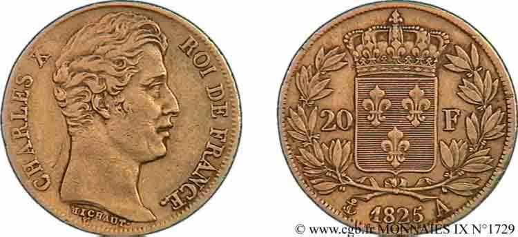 N° v09_1729 20 francs Charles X, 1er type - 1825