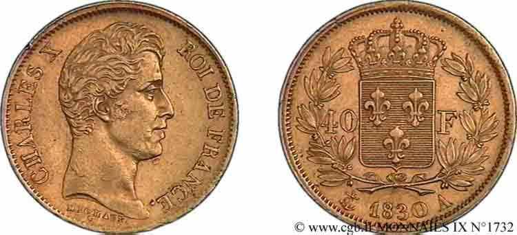 N° v09_1732 40 francs Charles X, 2e type - 1830