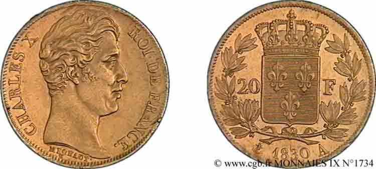 N° v09_1734 20 francs Charles X, 2e type - 1830