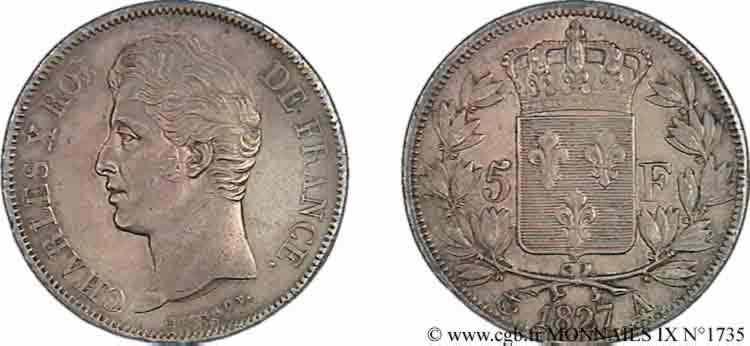 N° v09_1735 5 francs Charles X, 2e type - 1827