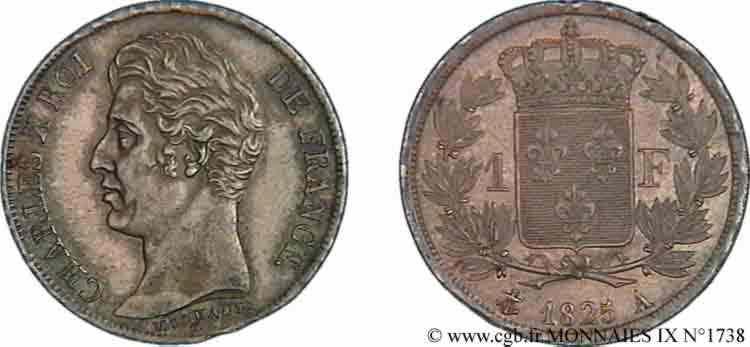 N° v09_1738 1 franc Charles X - 1825
