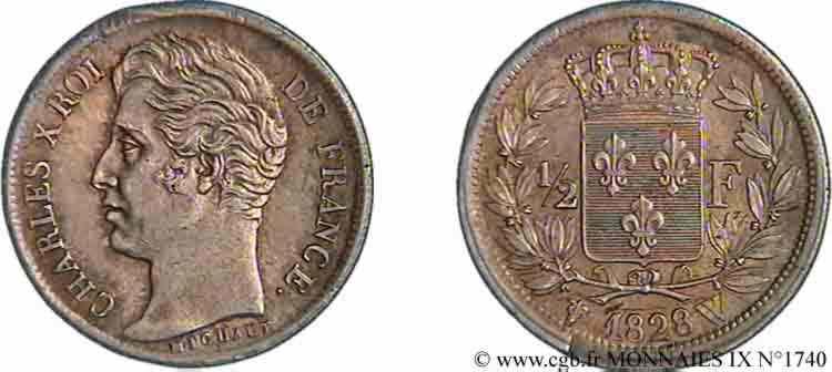N° v09_1740 Demi-franc Charles X - 1828