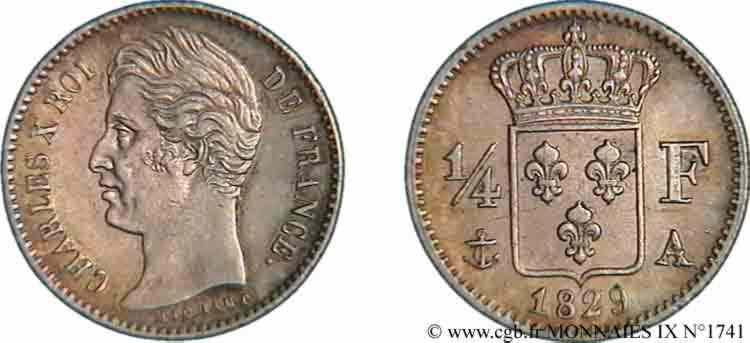 N° v09_1741 Quart de franc Charles X - 1829