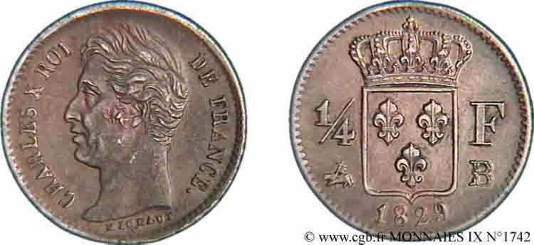 N° v09_1742 Quart de franc Charles X - 1829
