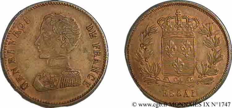 N° v09_1747 Essai au module de 2 francs Henri V - sd.