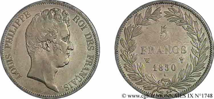 N° v09_1748 5 francs type Tiolier sans le I, tranche en creux - 1830
