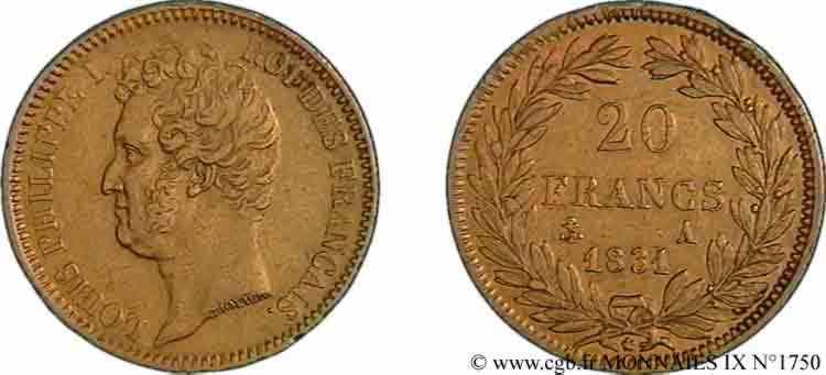 N° v09_1750 20 francs or Louis-Philippe, Tiolier, tranche inscrite en creux - 1831