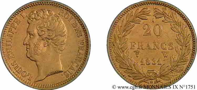 N° v09_1751 20 francs or Louis-Philippe, Tiolier, tranche inscrite en relief - 1831