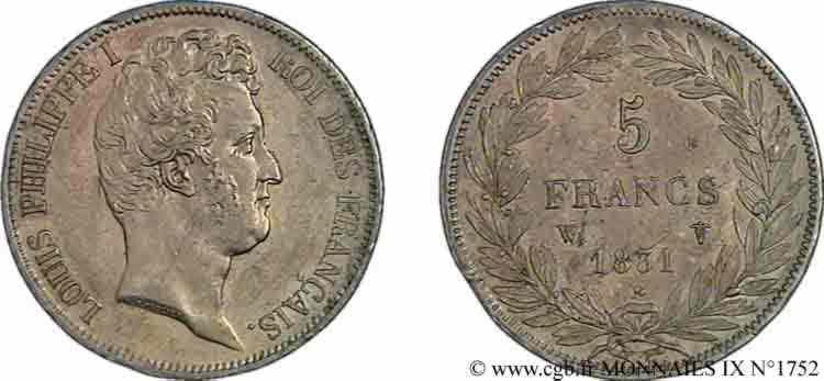 N° v09_1752 5 francs type Tiolier avec le I, tranche en creux - 1831