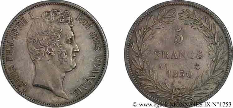 N° v09_1753 5 francs type Tiolier avec le I, tranche en relief - 1830