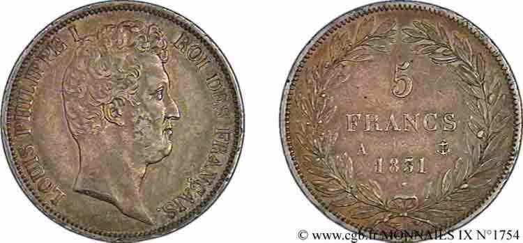 N° v09_1754 5 francs type Tiolier avec le I, tranche en relief - 1831
