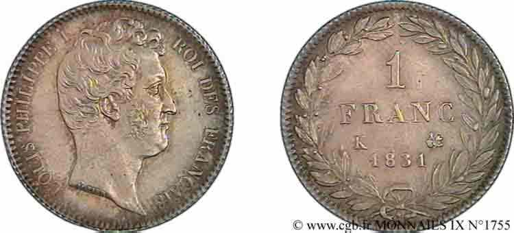 N° v09_1755 1 franc Louis-Philippe tête nue - 1831