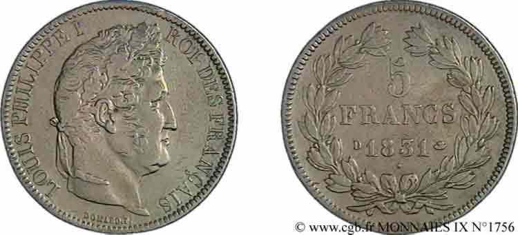 N° v09_1756 5 francs Ier type Domard, tranche en creux - 1831