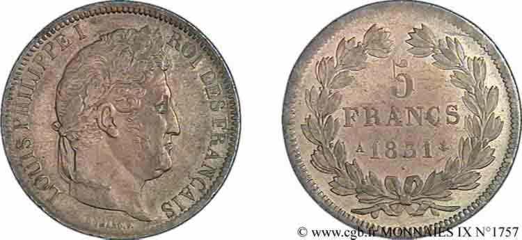 N° v09_1757 5 francs Ier type Domard, tranche en relief - 1831
