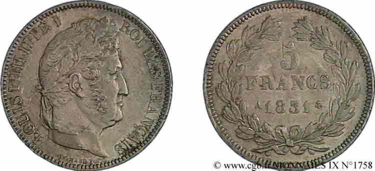 N° v09_1758 5 francs Ier type Domard, tranche en relief - 1831