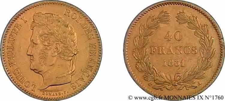 N° v09_1760 40 francs or Louis-Philippe, sans étoile - 1831