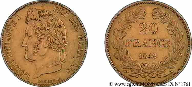 N° v09_1761 20 francs Louis-Philippe, Domard - 1848