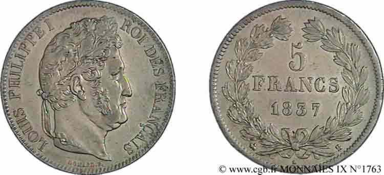 N° v09_1763 5 francs IIe type Domard - 1837