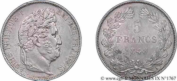 N° v09_1767 5 francs IIIe type Domard - 1848