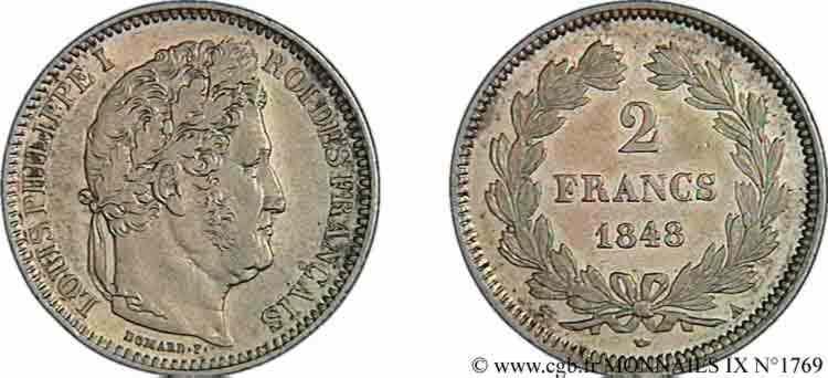 N° v09_1769 2 Francs Louis-Philippe - 1848