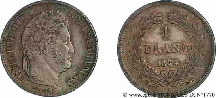 N° v09_1770 1 franc Louis-Philippe couronne de chêne - 1834