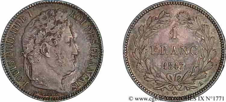 N° v09_1771 1 franc Louis-Philippe couronne de chêne - 1847